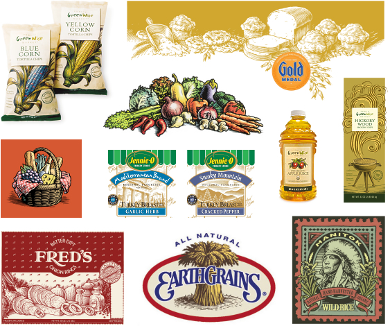 Traditional pen and ink illustrations for packaging; woodcut and engraving style
